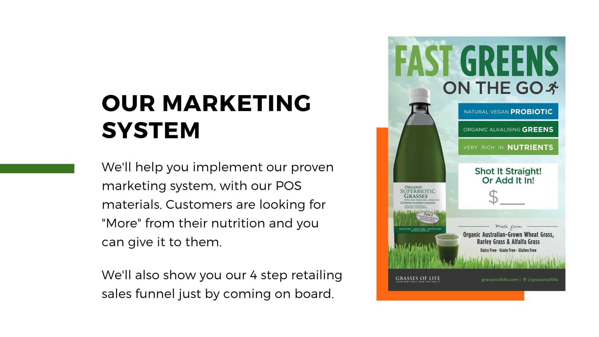 Grasses of Life Juice Bar Marketing System